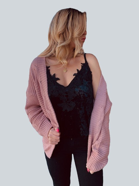Dark Rose Textured Cardigan