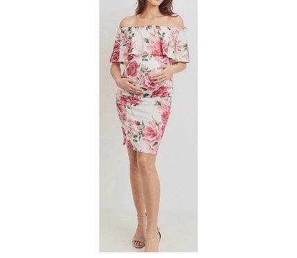 Maternity Floral & Cream Off Shoulder Dress