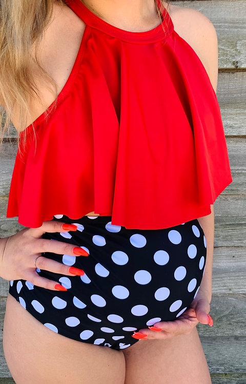 Maternity Red & Black/White Polka Dot High Waist Swimsuit