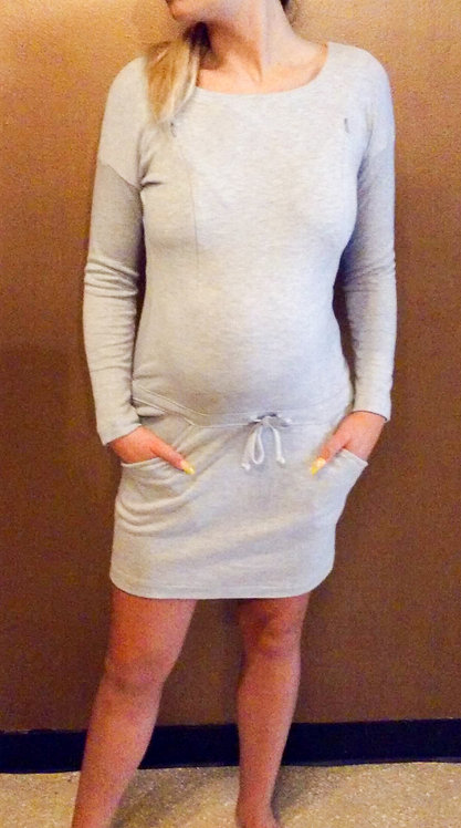 Maternity Nursing Grey Dress With Pocket Detail