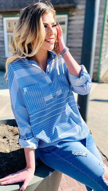 Blue Patterned Check Blouse With Pocket