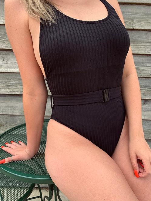 Black One Piece High Cut Swimming Suit With Belt