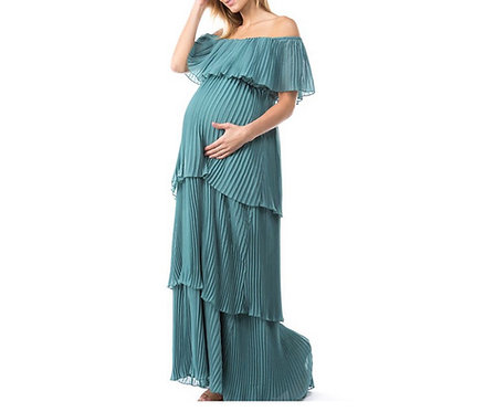 Maternity Teal Blue Pleated Dress