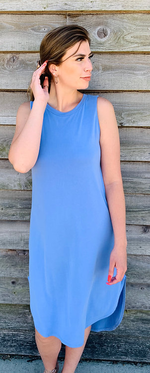 Dress With Hi Low Hem In Periwinkle