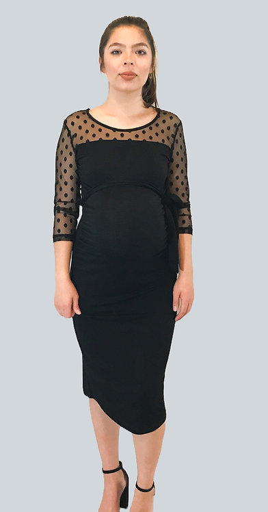 Maternity Black Dress With Tie At Waist,  Sleeve & Bodice Detail.