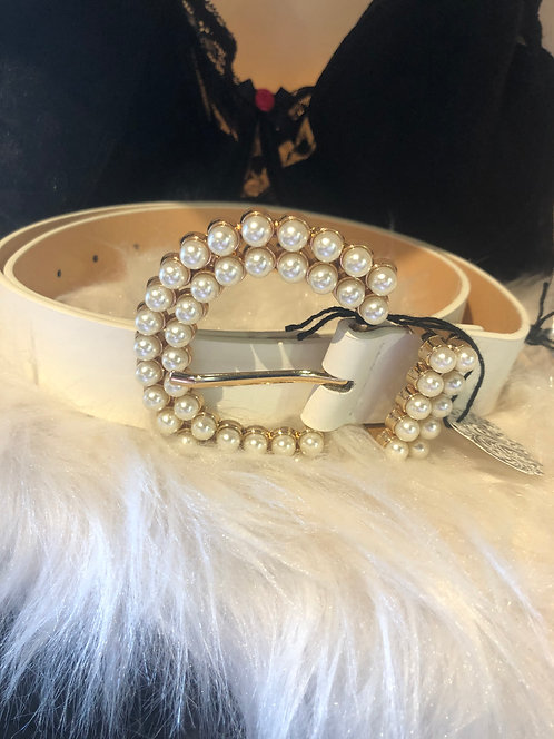 White Faux leather Belt With Pearl Buckle