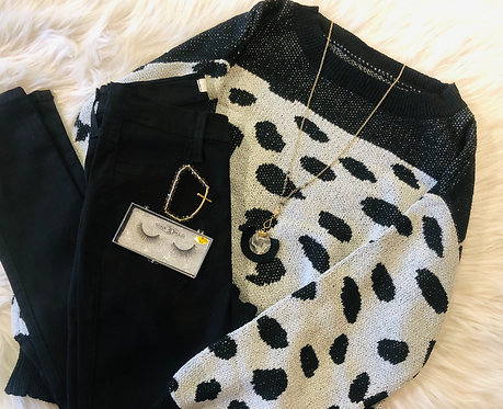 Black Sweater With Grey Detail