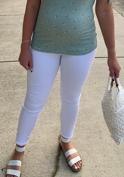 Maternity White Jeans With Hem Detail