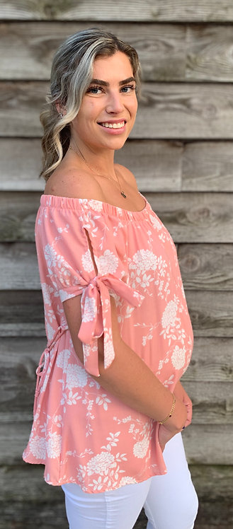 Maternity Coral Floral Top With Sleeve Detail