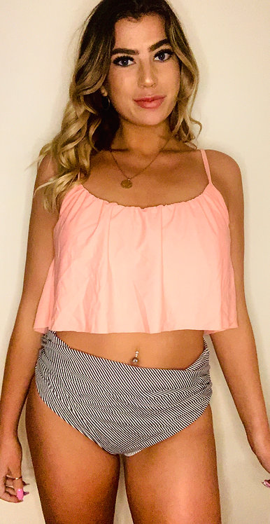 Two Piece Swimsuit With Peach Flounce Top, Black And White Bottoms