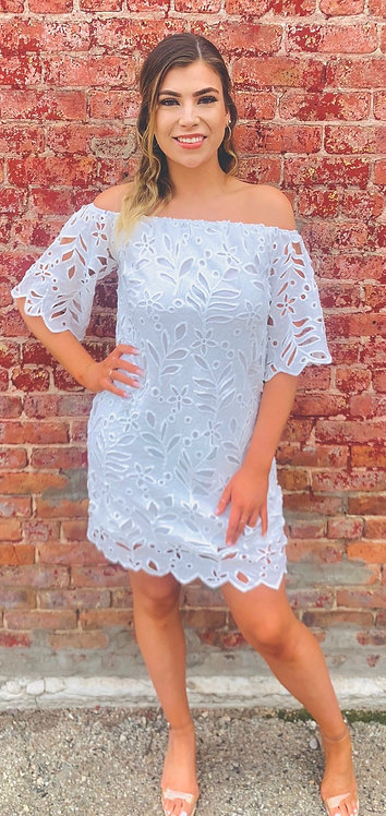 White Dress With Crochet Detail, Lined