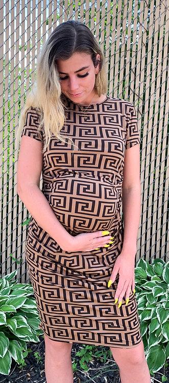 Maternity Mocha & Brown Geometric Bodycon Dress