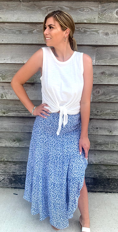 Blue & White Floral Skirt With Ruffle Slit