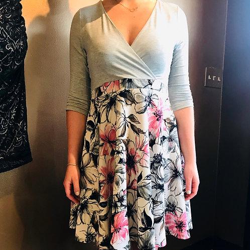 Grey Floral Maternity & Nursing Dress