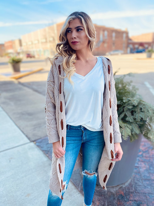 Oatmeal Hooded Cardigan With Trim Detail