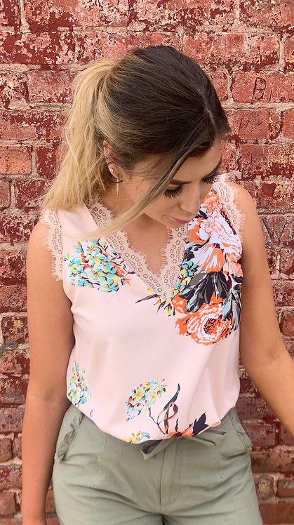Apricot Floral Top With LaceDetail