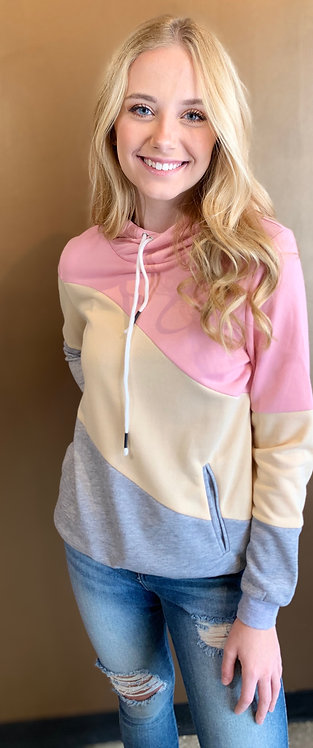 Pink, Cream & Grey Colourblock Hoodie With Pockets
