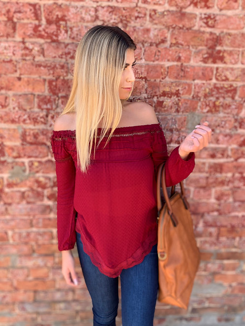 Burgundy Plum Top With Hem Detail