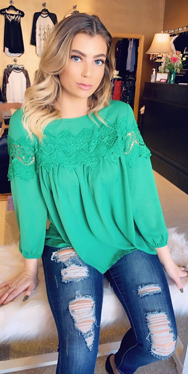 Green Oversized Top With Crochet Detail