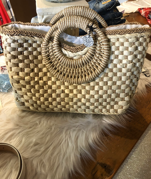 Woven Straw Purse Fully Lined & Zip Closure