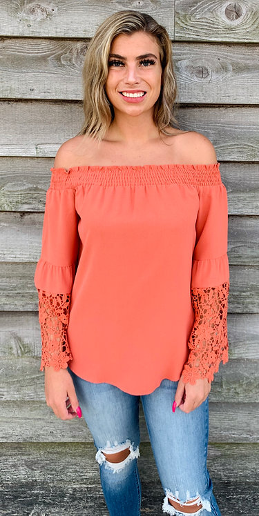 Burnt Orange Off The Shoulder Top With Sleeve Detail