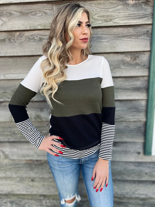 Green Colorblock Top With Stripe Detail