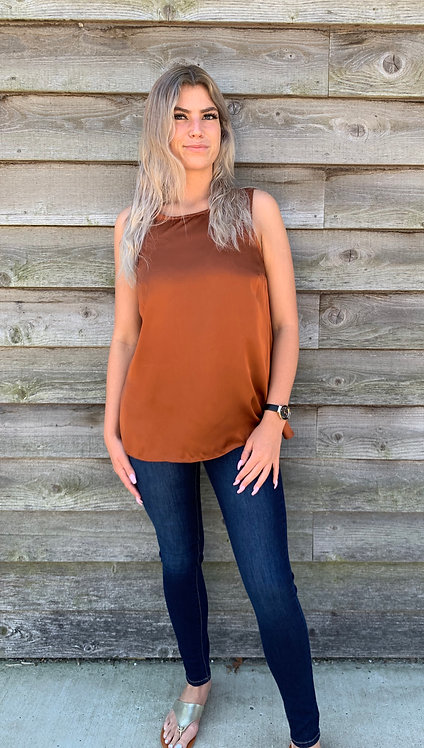 Maternity Rust Sleeveless Top With Jersey Back