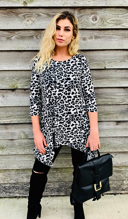 Leopard Print Top With Handkerchief Hem, Soft Knit
