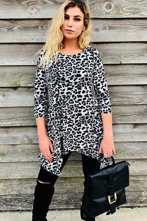 Leopard Print Top With Handkerchief Hem, Soft Knit
