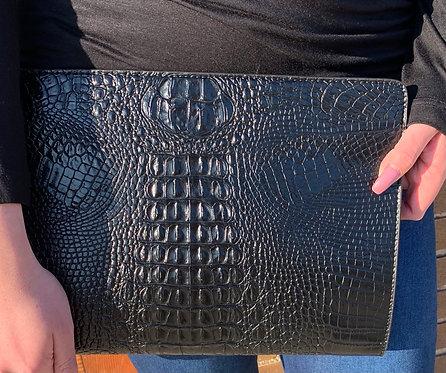 Black Faux Leather Envelope Clutch