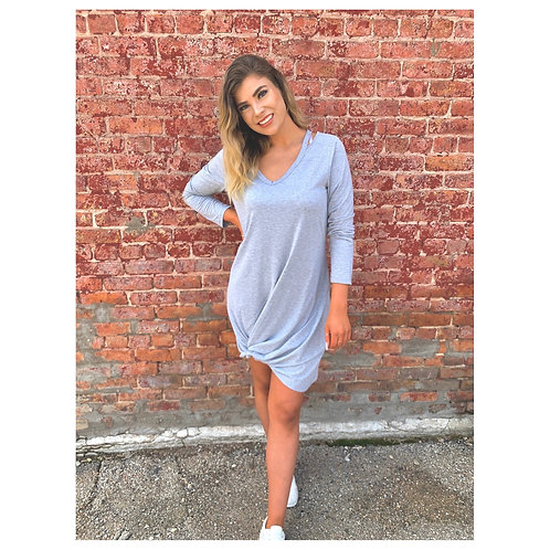 Light Grey Twist Hem Tee Shirt Dress