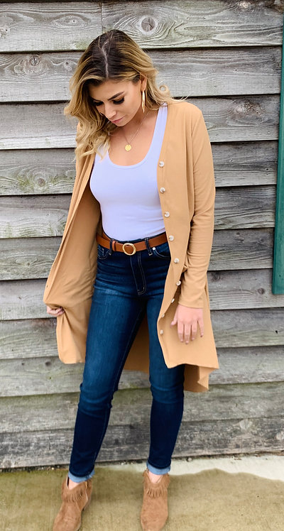 Long Cardigan in Beige