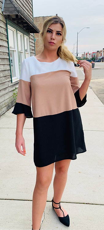 Black & Taupe Colour Block Dress With Bell Sleeves, Lined