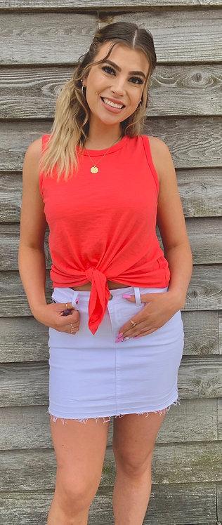 Women's White Denim KanCan Skirt