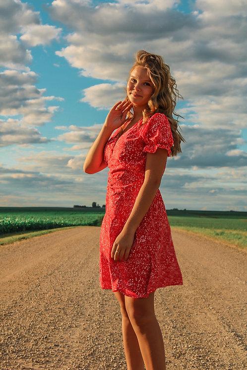 Red & White Print Dress