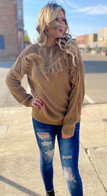Brown Sweater With Fringe Detail