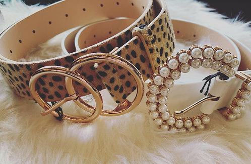 "Leopard Print Belt With Gold Detail 41"""