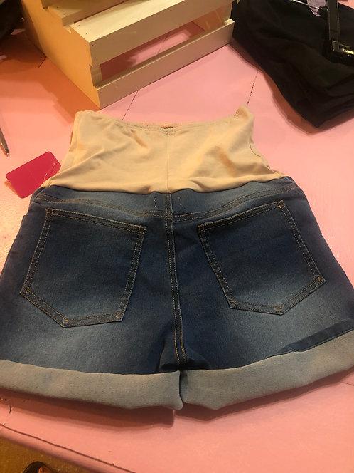 Maternity Non Distressed Over Bump Denim Shorts