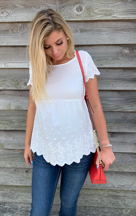 Maternity White Cotton Top With Embroidered Detail