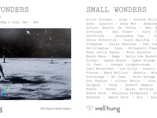 SMALL WONDERS - GROUP SHOW AT WELL HUNG GALLERY THURS 1ST JULY