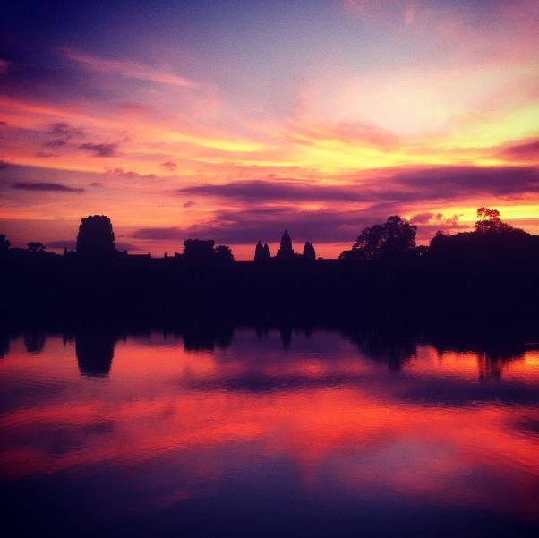 The brilliant sunrise over Angkor Wat