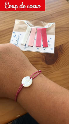 Bracelet azurite Médaille vierge à l'enfant nacre 15 mm
