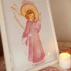 Cadre ange personnalisé au nom et à la date de l'Enfant