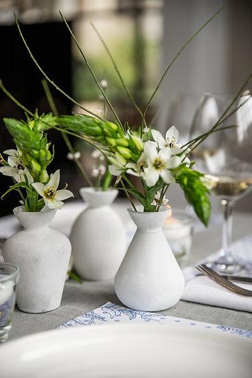 מארז 3 בקבוקונים לפרחים צבע לבן