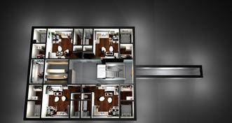 Protiatomový kryt pod bytovým domem pro 4 rodiny ( 20 osob )