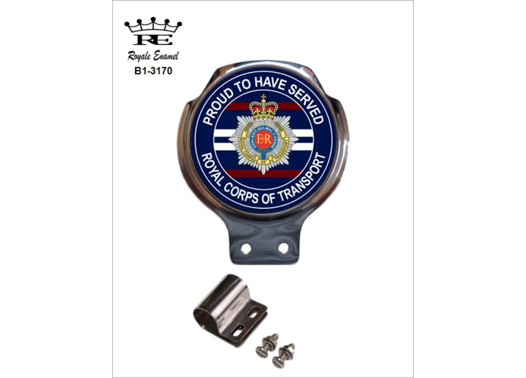 Royale Classic Car Grill Badge Fittings ROYAL CORPS OF TRANSPORT PROUD B2.3170