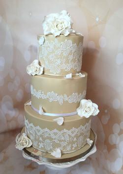 Coffee & Lace Wedding Cake