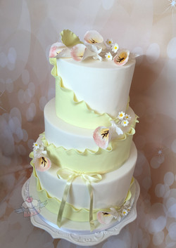 Lemon Orchid Wedding Cake