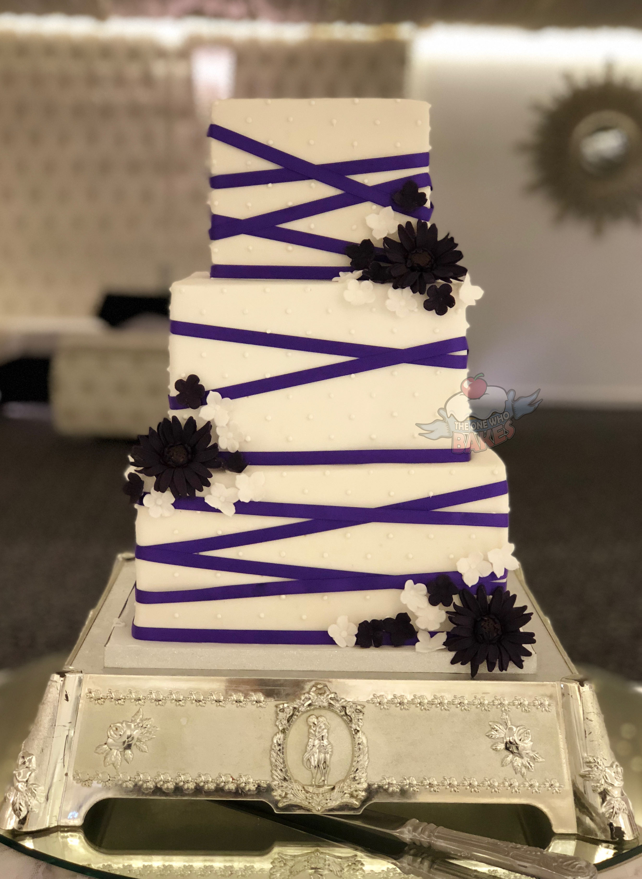 Geometric Ribbon Wedding Cake