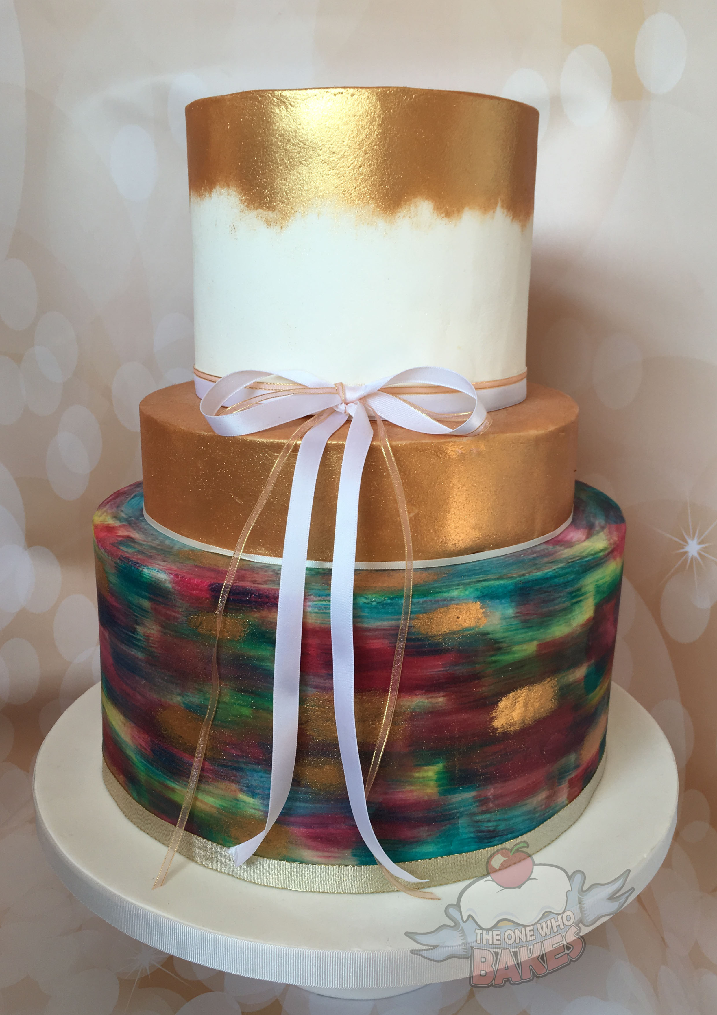 Painterley Shimmer Wedding Cake